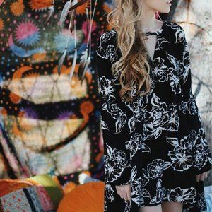 Free People Floral Print Swing Mini Foil Dress